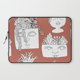 Illustrated Plant Faces in Terracotta Laptop Sleeve