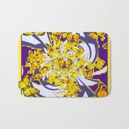 Modern Art Yellow Butterflies Purple Patterns Bath Mat