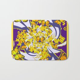 Modern Art Yellow Butterflies Purple Patterns Bath Mat