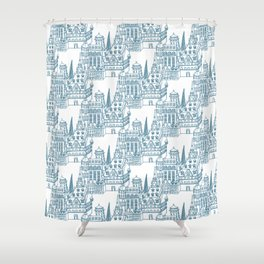 Buildings in Blue Shower Curtain