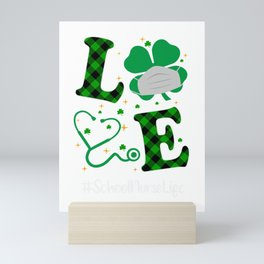 Love Stethoscope School Nurse Life Shamrock St Patricks Day Mini Art Print
