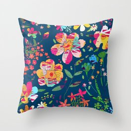 Paper Floral Throw Pillow