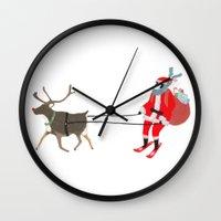 husky Wall Clocks featuring Santa Husky by miba