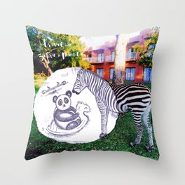 Travel with Zebra and Panda Throw Pillow