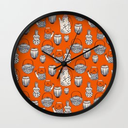 TEAPOT - pattern - red, beige, navy blue, pink Wall Clock