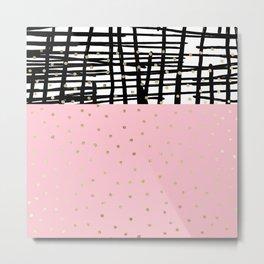Modern geometrical black pink faux gold polka dots Metal Print