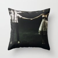 collage Throw Pillows featuring abyss of the disheartened : IX by Heather Landis