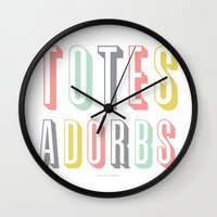 discount Wall Clocks featuring Totes Adorbs by Miss Modern Shop