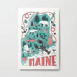 Maine Map Metal Print