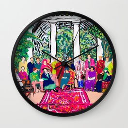 This is not a Party: Brightly colored painting of a group of people in a gigantic greenhouse with rugs and rainbow clothing Wall Clock