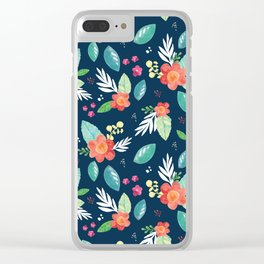 Enchanted Blooms on Navy Clear iPhone Case