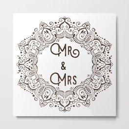 Mr & Mrs Lace - Brown Metal Print