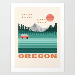 Oregon - retro throwback 70s vibes travel poster van life vacation mountains to sea Art Print