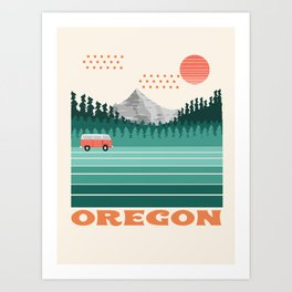 Oregon - retro throwback 70s vibes travel poster van life vacation mountains to sea Art Print