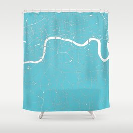 London Turquoise on White Street Map Shower Curtain
