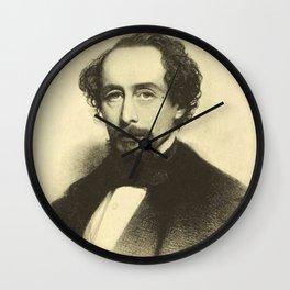 Vintage Charles Dickens Portrait Wall Clock