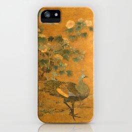 Bian Lu Peacock and Hollyhocks iPhone Case