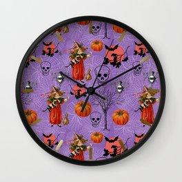 Vintage Halloween Pattern Wall Clock