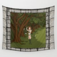 archer Wall Tapestries featuring Girl Warrior Elf Archer on Edge of Forest by Hinterland Harmony Illustrations
