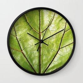 GREEN ORGANIC LEAF WITH VEINS DESIGN ART Wall Clock