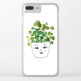 Shamrock Face Vase Clear iPhone Case