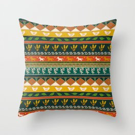 Ukrainian Folk Art Stripe Throw Pillow
