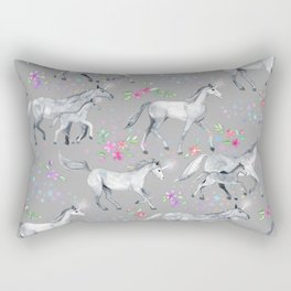 Unicorns and Stars on Soft Grey Rectangular Pillow