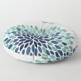 Floral Prints, Gray, Teal and Blue, Abstract Art Floor Pillow