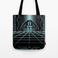 tron Tote Bags featuring Tron Legacy by Yuri Meister