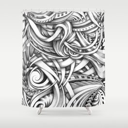 Escher Like Abstract Hand Drawn Graphite Gray Depth Shower Curtain