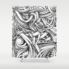 Escher Like Abstract Hand Drawn Graphite Gray Depth Shower Curtain