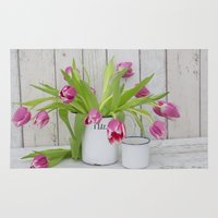 tulips Area & Throw Rugs featuring Tulips by LebensART Photography
