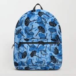 Ginkgo Biloba linocut pattern LIGHT BLUE Backpack