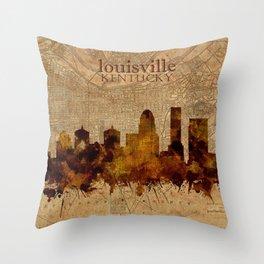 louisville skyline vintage 4 Throw Pillow