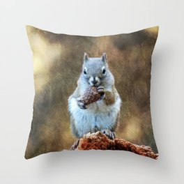 Squirrel with a Pine Cone Throw Pillow