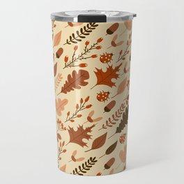 Autumn Leaves and Ladybugs Pattern Travel Mug