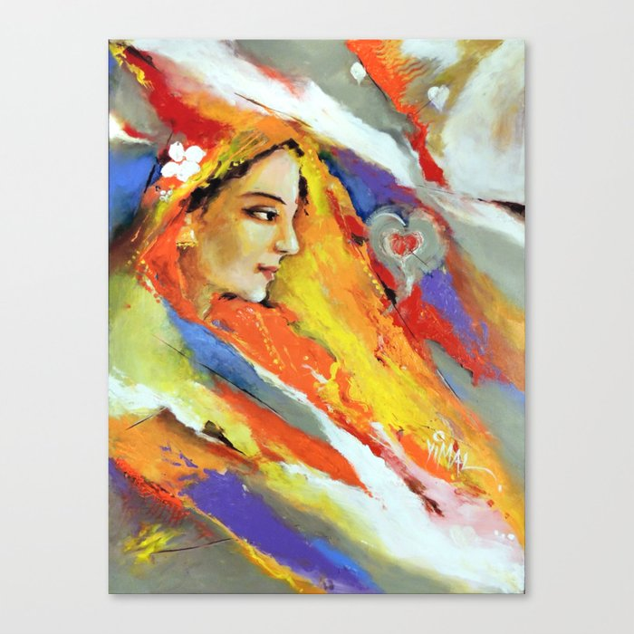 Indian Women In Colorful Background Canvas Print By Vimalarts