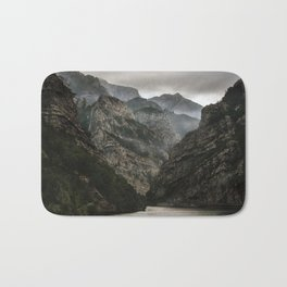 Foggy mountains over Neretva gorge Bath Mat