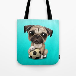 Cute Pug Puppy Dog With Football Soccer Ball Tote Bag