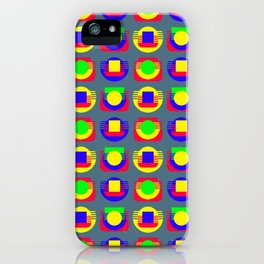 Primary Colors and Basic Shapes, Silver Gray Background iPhone Case