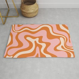 Liquid Swirl Retro Abstract Pattern in Orange Pink Cream Rug