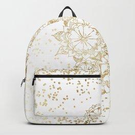 Hand drawn white and gold mandala confetti motif Backpack