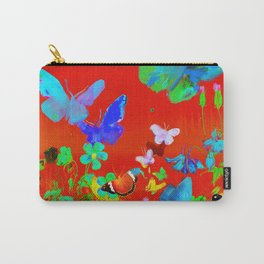Red Butterflies & Flowers Carry-All Pouch