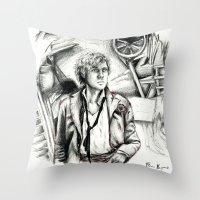les miserables Throw Pillows featuring Les Miserables Portrait Series - Enjolras by Flávia Marques