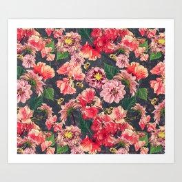 Vintage Flowers and Bees Art Print