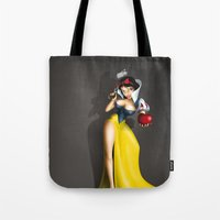 snow white Tote Bags featuring Snow White by Greg-guillemin