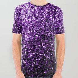 Beautiful Dark Purple glitter sparkles All Over Graphic Tee