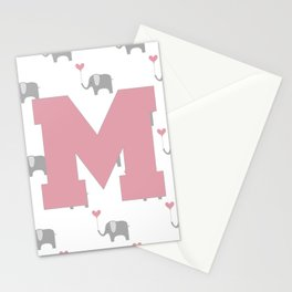 The letter M - Nursery Elephants Pink Grey Stationery Cards