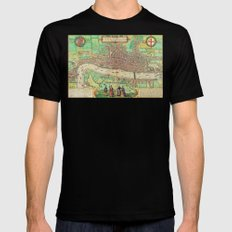 A Modern Map of London Mens Fitted Tee Black MEDIUM