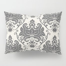 Luxury Floral Damask Pattern – Neutral Dark Gray and Cream Pillow Sham
